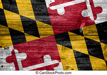 Maryland State Flag painted on old wood plank texture