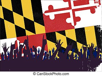 Maryland State Flag with Audience