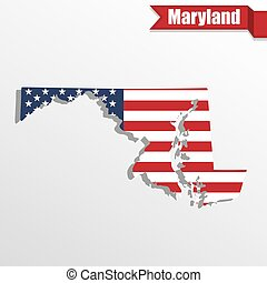 Maryland State map with US flag inside and ribbon