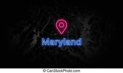Maryland State of the United States of America. Animated neon location marker on the map. Easy to use with screen transparency mode on your video. 4k 30 fps.