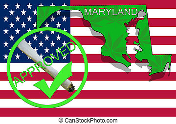 Maryland State on cannabis background. Drug policy. Legalization of marijuana on USA flag,