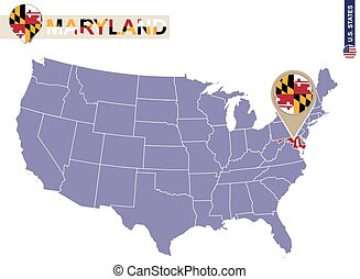 Maryland State on USA Map. Maryland flag and map.