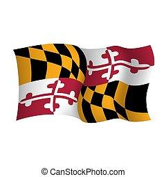 Maryland vector waving flag. USA state symbol. Vector illustration