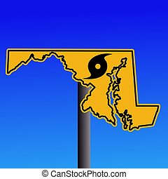 Maryland warning sign with hurricane symbol