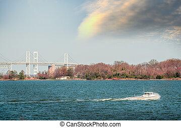 Maryland waterman boat on the Chesapeake bay near Bay Bridge