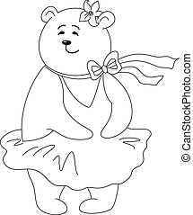 Teddy-bear Marylin Monroe in the dress inflated by a wind, contours