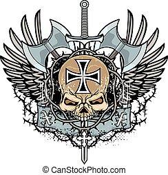 marynarka, grunge, herb, czaszka