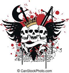 marynarka, heraldyczny, arms5, czaszka