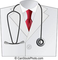 marynarka, medyczny, biały, doktor