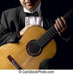 marynarka, palenie, gitarzysta, klasyczny
