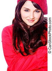 marynarka, uśmiechnięta kobieta, kapelusz