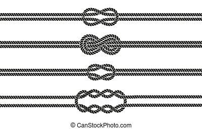 marynarz, dzielący, węzeł, set.