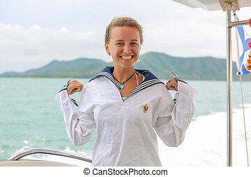 marynarz, dziewczyna, sea.