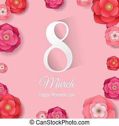 marzec, women?s, 8, międzynarodowy, dzień, karta