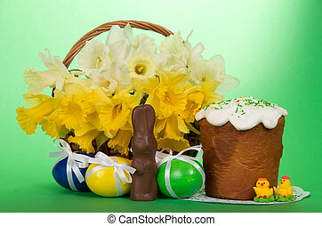 Easter cake, eggs and flowers - Marzipan candies, a...