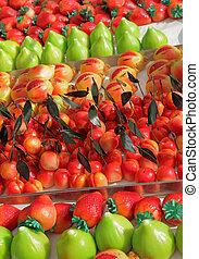 marzipan confectionery in fruit shapes ( italian : Frutta di...