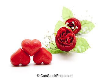 Marzipan heart with rose