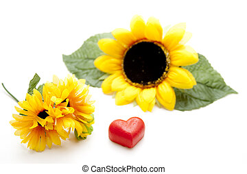 Marzipan heart with sunflower