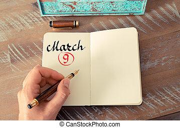 marzo, 9, calendario, día, manuscrito, en, cuaderno