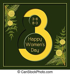 marzo, augurio, donne, floreale 8, giorno, scheda, felice