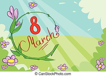 marzo, bandiera, verde, floewr, foglie, vettore