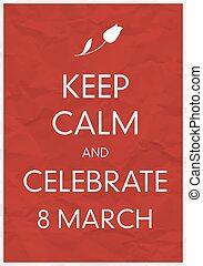 marzo, manifesto, custodire, calma, 8, celebrare