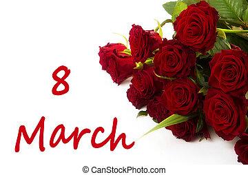 marzo, -, mujeres, 8, palabra, flores, día