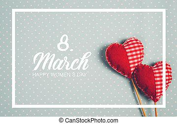 marzo, mujeres, message., 8, día, feliz