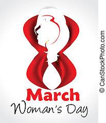 marzo, womans, ocho, plano de fondo, dama, día