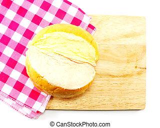 masło, kromki, drewniany szczyt, wiejski, cięcie deska, tło,...