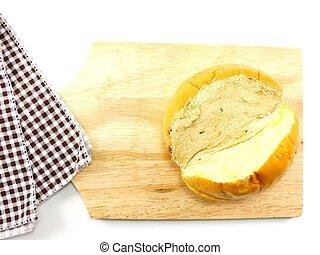 masło, kromki, drewniany, wiejski, cięcie deska, tło, bread