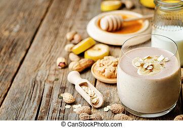 masło, orzech ziemny, smoothies, owies, banan