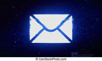 masaż, cyfrowy, błąd, symbol, poczta, hałas, animation., pixel