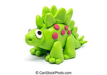 masa, fondo blanco, stegosaurus, juego