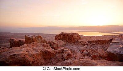 Masada, 以色列, 死, 日出, 海, 旅遊業, 沙漠, 要塞,  judean