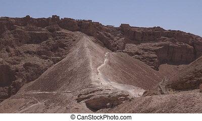 masada, bolwerk, in, de, judaean, woestijn, israël