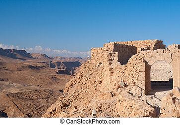Masada fortress ruins - View of Masada fortress ruins,...