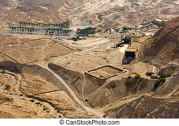 Masada in Israel - View from Masada to the cable car...