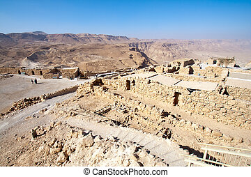 Masada - Israel - Ruins of the ancient Masada fortress in...