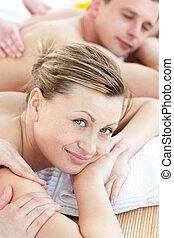 masage, avoir, couple, heureux