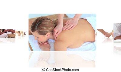 masage, avoir, femmes, montage