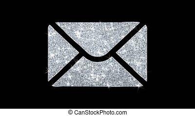 masage, clignotant, boucle, courrier, icône, scintillement, particules, briller
