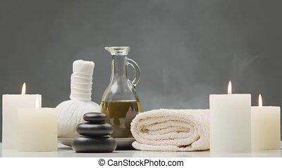 masage, concept., aromathérapie, traitement, composition.,...