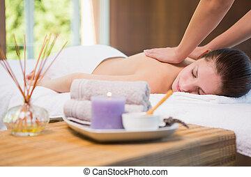 masage, dos femme, réception