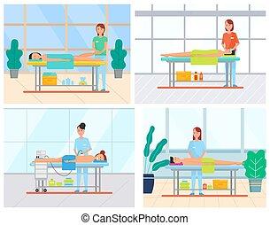 masage, femme, salon, ensemble, spa, délassant, homme
