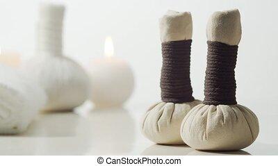 masage, herbier, balls., fleurs, aromathérapie, treatment.,...