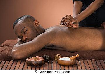 masage, homme, obtenir, spa