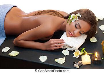 masage, pendant, femme, procédure, luxueux