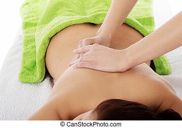 masage, pierre, chaud, girl, thérapie