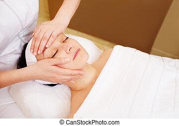 masage, professionnel, cosmetician, traitement, facial